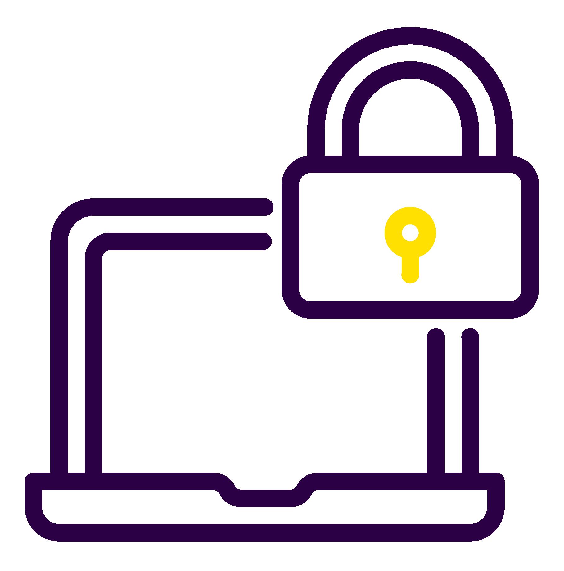 icône cadenas sur un ordinateur représentant un suivi 24h/24